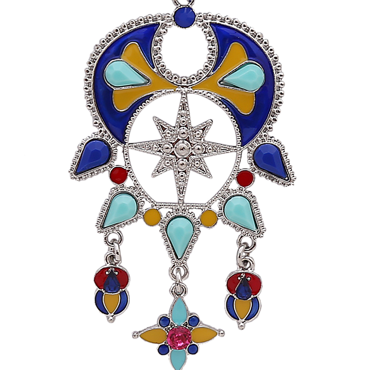 Retro alloy plating necklace (blue)NHNMD3796-blue