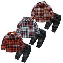 18季欧美风格新品 婴幼儿男童格子3色衬衫牛仔裤套装