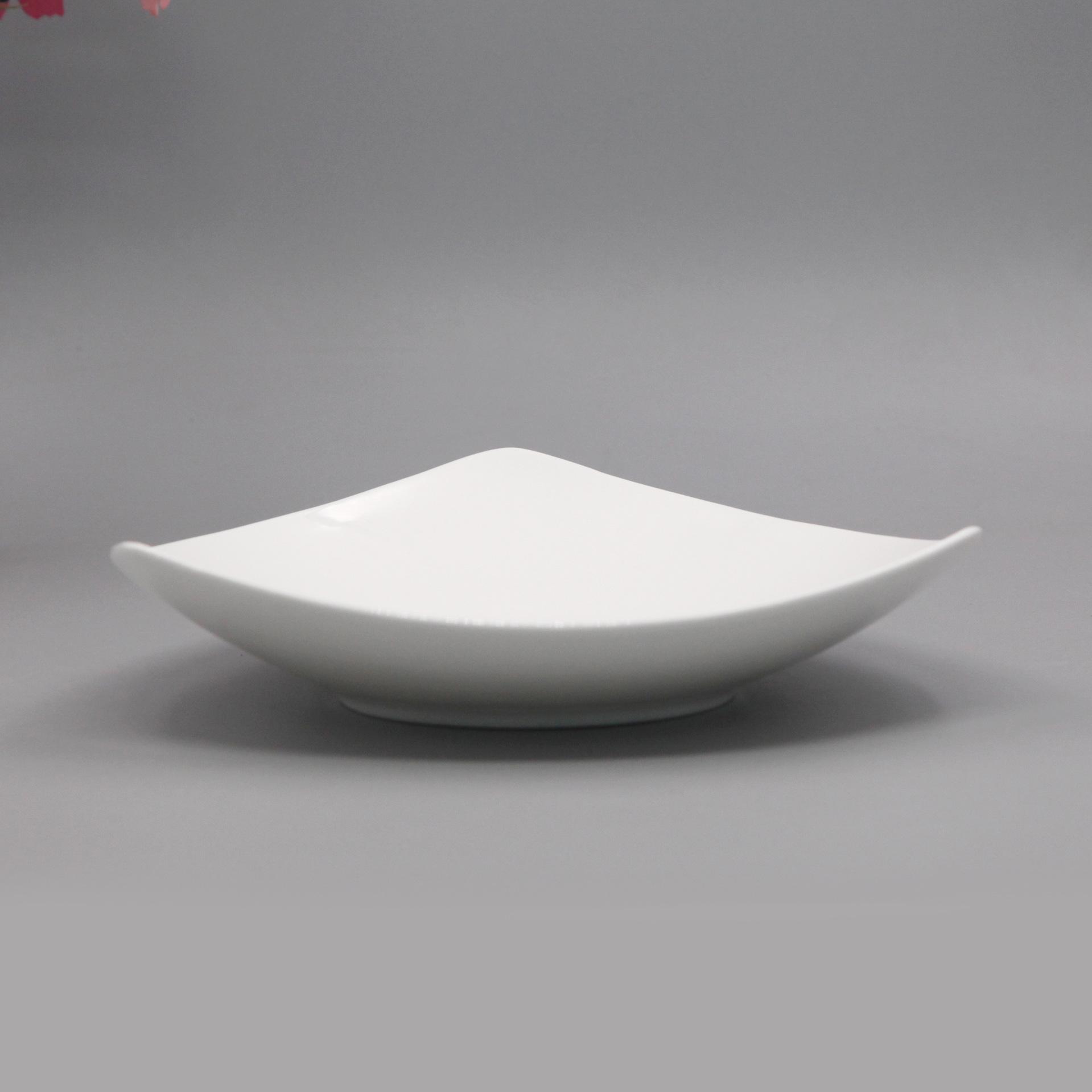 雷格 唐山骨瓷 纯白新品个性陶瓷餐具三角盘 饭盘汤盘