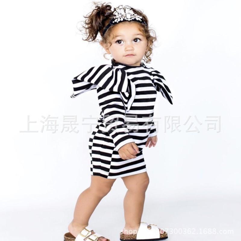 ins童装秋冬新品儿童长袖中长款条纹裙厂家直销欧美风女宝宝裙子