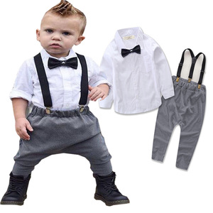 2017 new children's wear set, spring money, an American boy, gentlemen's bow tie straps, suite 16521