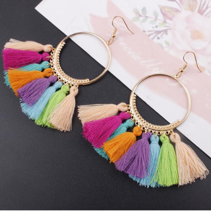 流苏耳环 时尚创意欧美饰品大圈耳环配饰 供应波西米亚流苏耳环