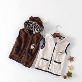 一件代发秋冬装新款可爱小熊造型男童女童儿童珊瑚绒连帽马甲马夹