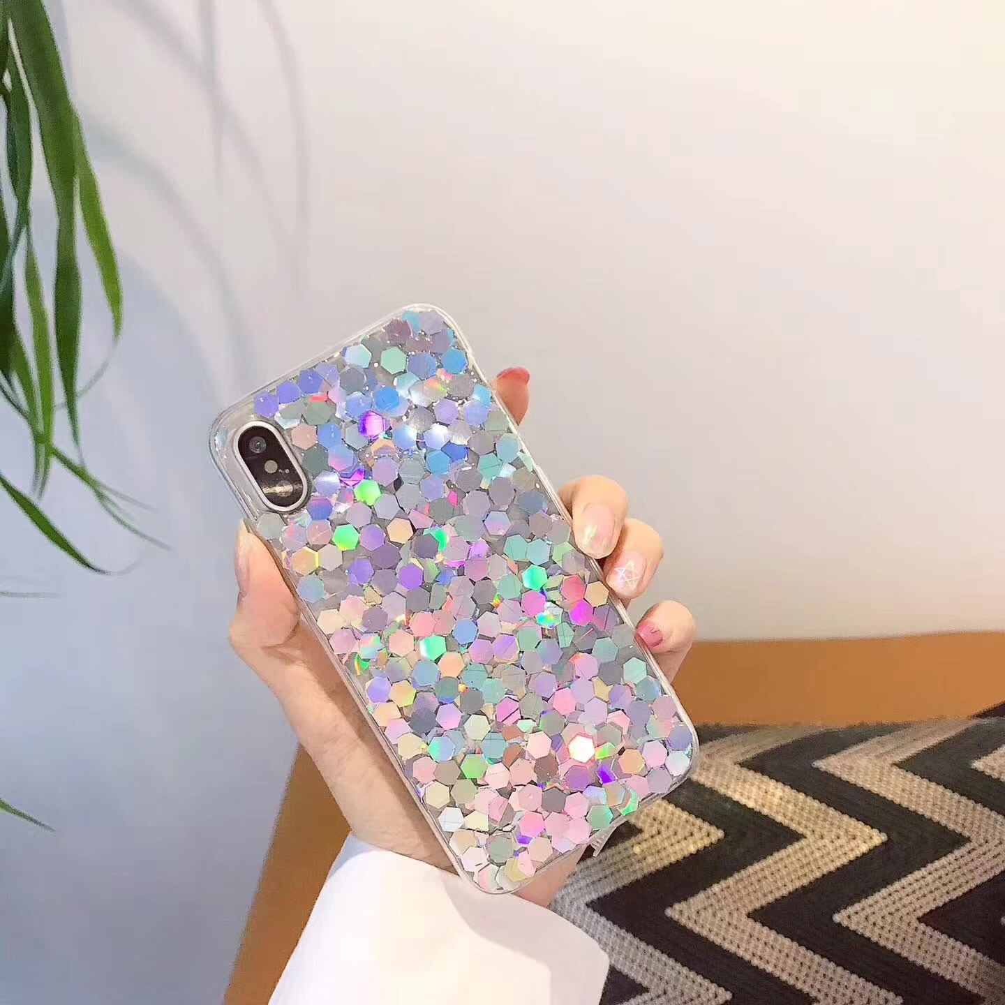 Korea Bling laser sequins Apple 6s mobile phone shell iphone7 plus soft shell set creative personality female models