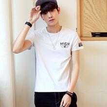 夏季男士印花短袖T恤青少年韩版修身半袖白色体恤潮流男装上衣服