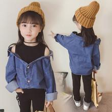 2020秋季新款童装女童长袖上衣牛仔衬衫假两件外套3-8岁