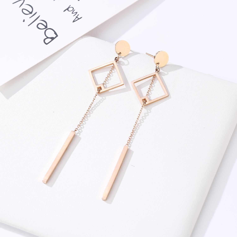 folk-custom metal plating Titanium steel earrings (Rose gold pair)NHIM0932-Rose gold pair