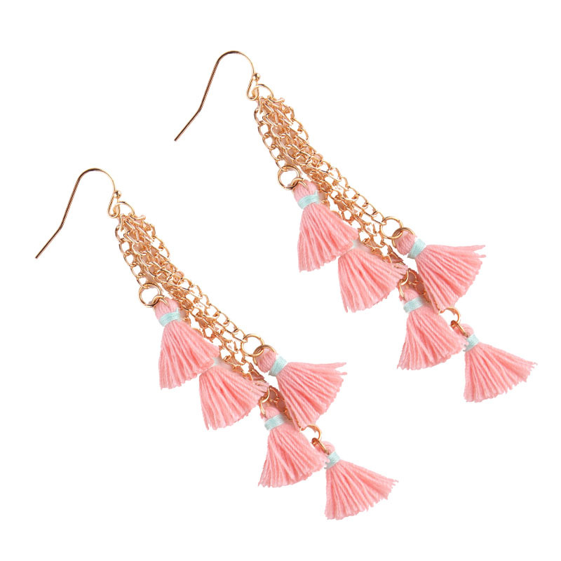 folk-custom alloy hand made earring (Pink)NHJQ9185-Pink
