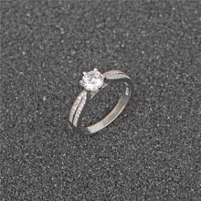 韩版微镶排钻指环 六爪食指戒 饰品s925纯银 克拉钻戒指 生日礼物
