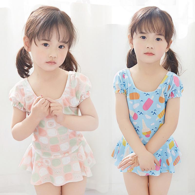 品牌热销女童泳衣冰淇淋宝宝儿童连体泳衣中小童连衣裙平角泳衣