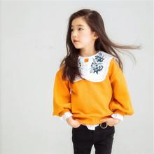 秋季新款童装 2017女童儿童拼色荷花边肩卫衣宝宝套头衬上衣潮