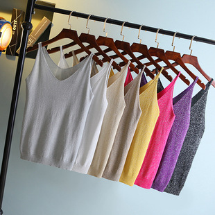 Cross-border foreign trade 2021 new Korean version of wild sexy thin V-neck gold and silver thread bright silk knitted camisole women