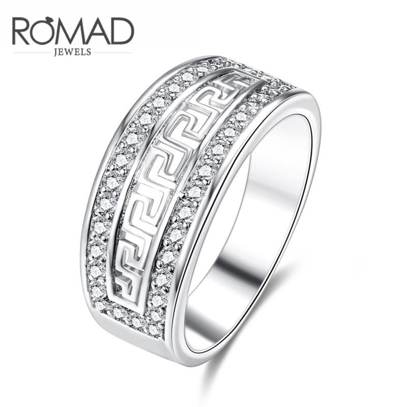Romad Masih Roxi Cincin Berlian Platinum Berlian Lingkaran Satu (Perak)-Internasional