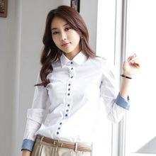 白襯衫女士長袖2020秋裝新款修身正裝職業打底衫女大碼工作服OL