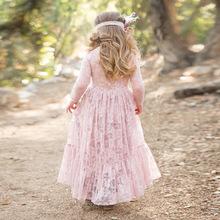 2017秋INS款童装蕾丝镂空长袖女童连衣裙一件代发儿童礼服公主裙