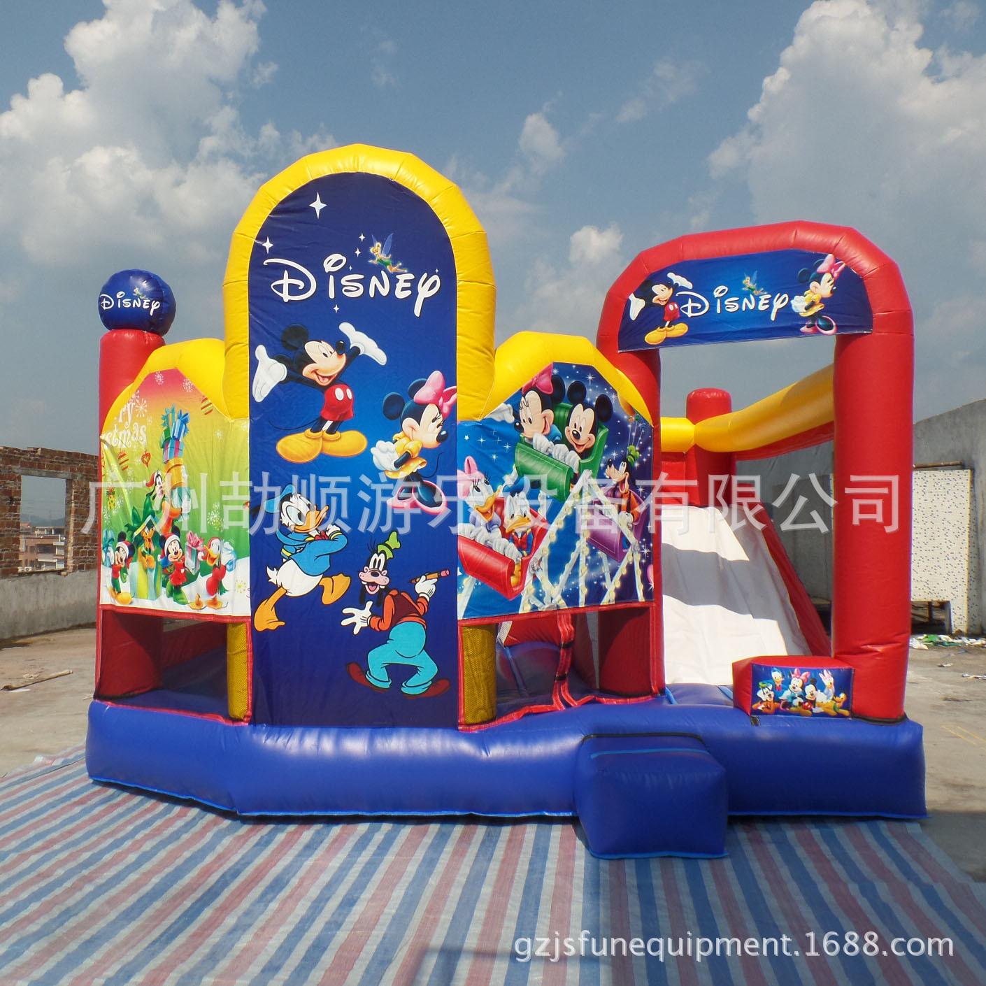 米奇老鼠卡通充气蹦蹦床 PVC儿童充气滑梯组合室内外充气跳床