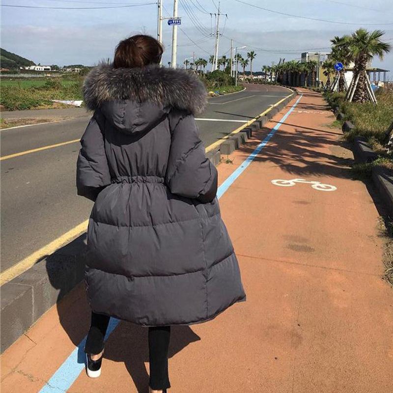 2020冬装新款韩版大毛领宽松女士大码中长款显瘦羽绒服女加厚过膝