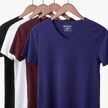 新款夏季男士式t恤无痕莫代尔男短袖V领高弹随心裁半袖纯色打底衫