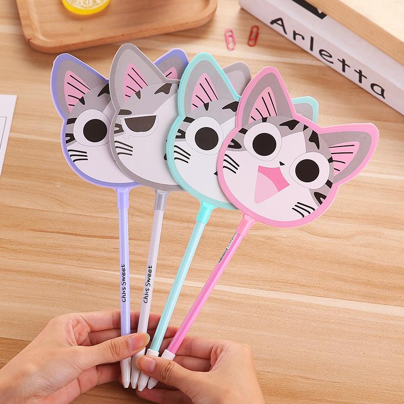 Bút quảng cáo lớn có thể in logo pho mát mèo biểu hiện gel bút trẻ em dễ thương hoạt hình quạt bút bán buôn 1053