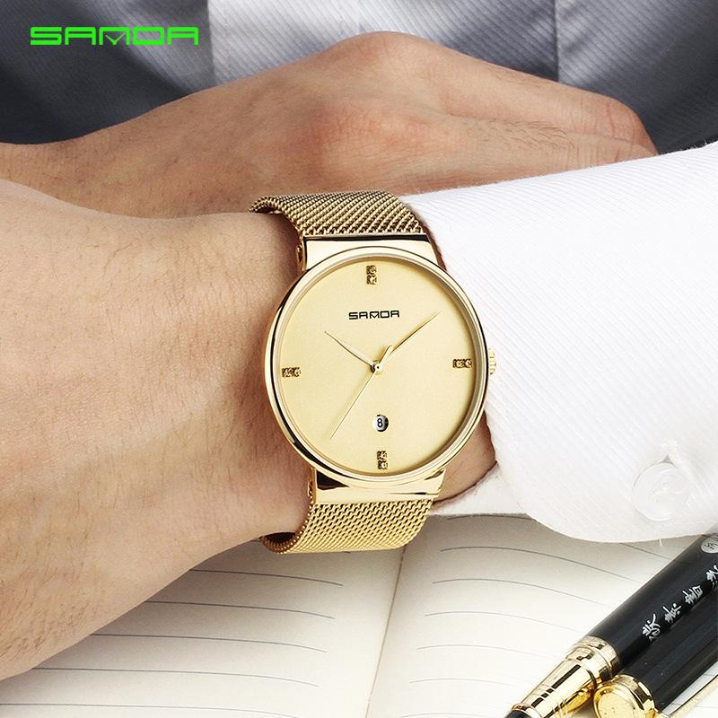三达新款男士手表防水商务男表时尚腕表休闲精钢表带手表潮男石英