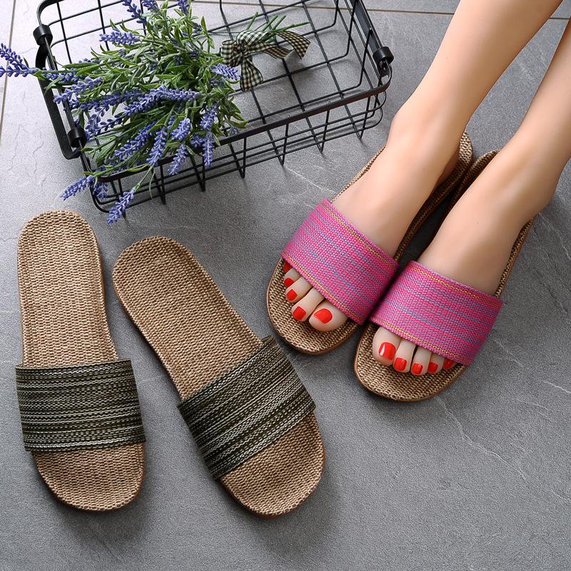 亚麻拖鞋女夏居家室内情侣防滑厚底地板韩版男夏季家居棉麻凉拖鞋