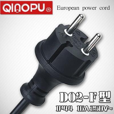 【D02-F插头】欧洲两芯防水插头 IP44两芯欧洲插头 VDE防水插头