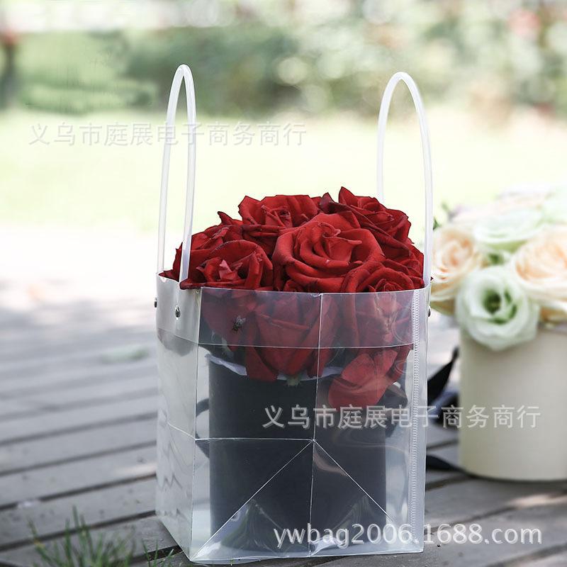 PVC透明方形手提袋 鲜花手提袋 防水PP礼品袋 花束盆栽绿植提袋
