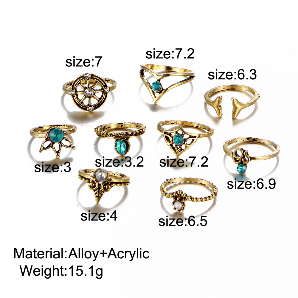 New simple personality exaggerated diamond rudder cross leaf gemstone 9-piece ring women NHPJ188038