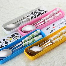 創意卡通陶瓷柄不銹鋼餐具勺子叉筷子便攜兒童餐具三件套禮品套裝