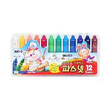 韩国AMOS婴幼儿专用无毒蜡笔12色口红式绘画笔 不粘手安全8673