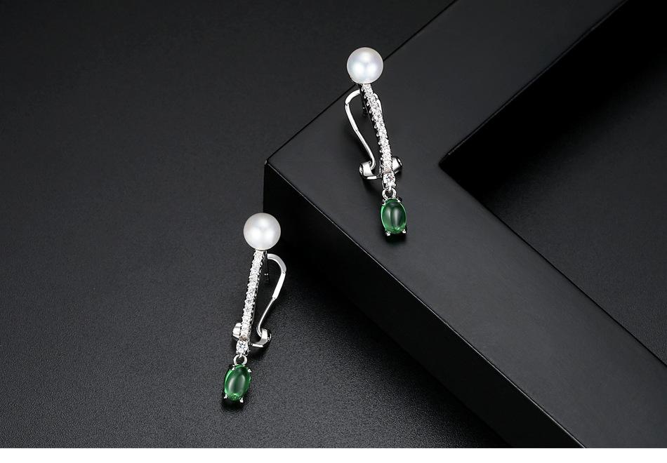 Simple Alloy Inlaid precious stones Earrings  Main stone green 07F12  NHTM0084Main stone green 07F12