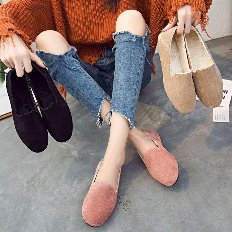 2019秋冬季保暖毛毛鞋新款加绒方头深口平底鞋懒人鞋女鞋