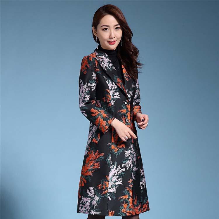 2021春季新款西装领中长款提花高档提花中年30-40岁女装风衣外套