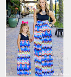 Mai Zeni spring and summer Europe and the United States Metseni  abstract impression print stitching parent-child dress