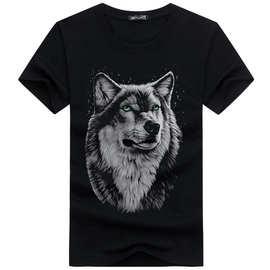 2019夏季新款3D狼头短袖T恤男 加肥加大码青年潮半袖t恤厂家直销