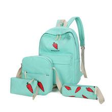 雙肩包女韓版學院風帆布可愛書包水果簡約百搭中學生休閑雙肩背包