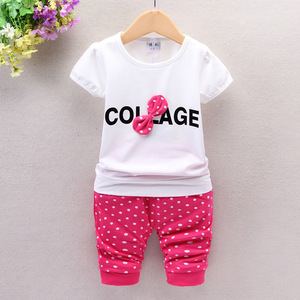 2017 new 0 Children 2 female baby girl clothing summer short sleeved summer suit 1-3 two year old baby clothes.