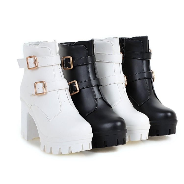 外贸新品女鞋大码40-43码高跟短筒靴女粗跟防水台百搭小码33女靴