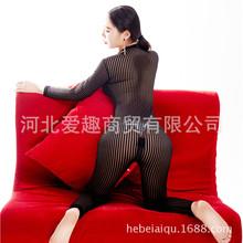 情趣内衣开档露乳条纹透明紧身连体衣打底裤野外露出装双拉链性感