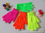 爆款荧光色纯色保暖针织手套高低光舞蹈酒吧夜吧专用手套厂家直销
