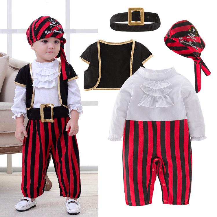 跨境专供 男宝宝春秋新款 海盗船长款可爱连体哈衣套装4件套