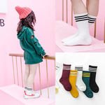 New childrens socks in autumn and winter, 3-12 years old, big and medium children, pure cotton three bars, pile up socks, baby socks.