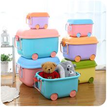 收纳箱儿童卡通整理箱有盖加厚塑料衣服玩具储物收纳盒带轮