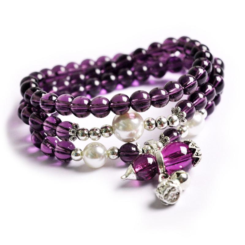 新款 紫水晶手链 多圈时尚简约女款黄水晶手串 景区饰品手链批发