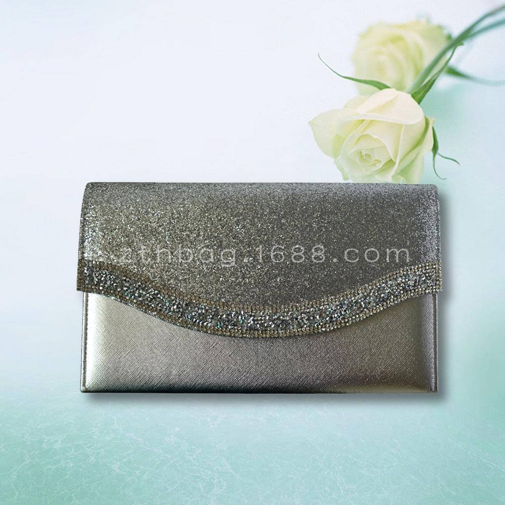 外贸出口品质 优雅时尚 高端定制 亮片皮革料 女士晚宴包信封包