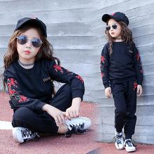 中大童女童套裝秋冬衛衣兒童外貿刺綉童裝越南民族風小孩衣服批發