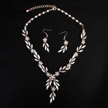 耳环项链新娘饰品三件套 合金电镀欧美新娘套装 首饰套装外贸货源