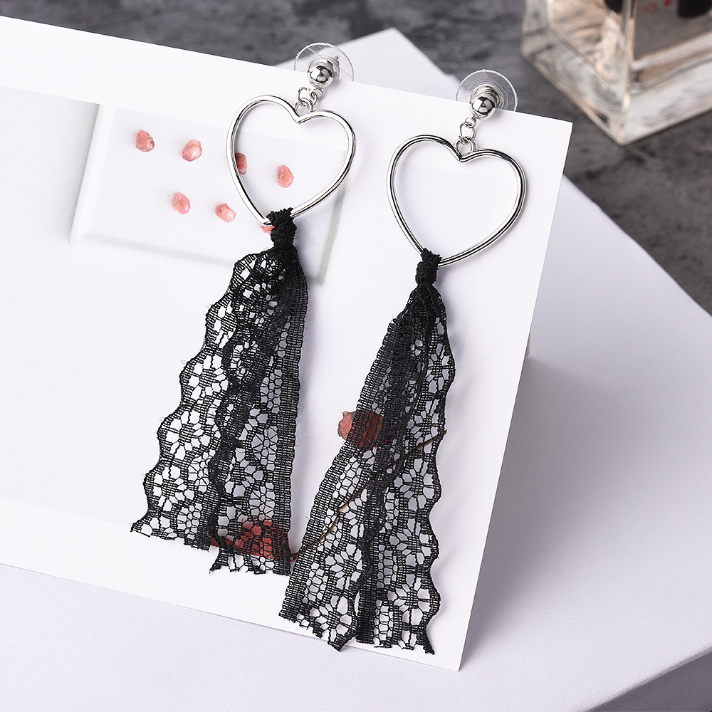 Satin ear long love tassel earrings NHVA171470