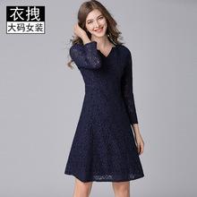大碼品牌連衣裙裙 秋冬新款深V蕾絲加絨加厚連衣裙 胖mm大碼女裝