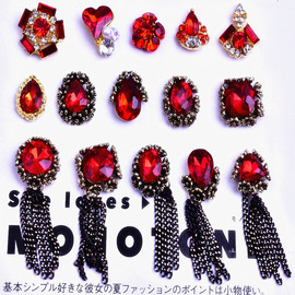 New Nail Art Jewelry Big Red Bridal New Year Alloy Gemstone Retro Fringe with Diamond Nail Crystal Decoration